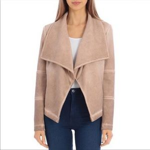 BAGATELLE Washed Faux Suede Drape Jacket BROWN NEW